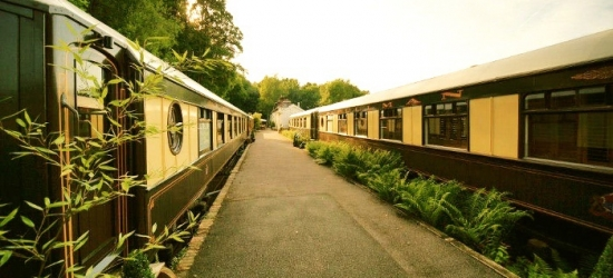 West Sussex: Standard Pullman Carriage Ensuite Double Room for Two with Breakfast at 4* The Old Railway Station