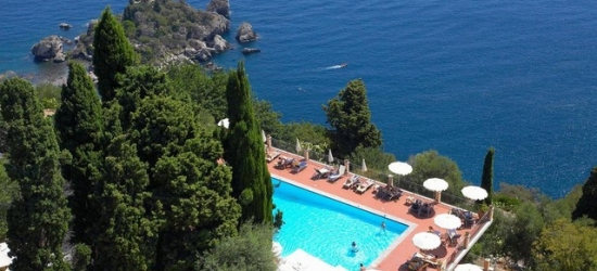 $ Based on 2 people per night | Charming cliffside hotel in Sicily's Taormina, Grand Hotel San Pietro, Italy