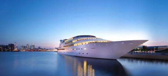 $ Based on 2 people per night | Gleaming super-yacht near London's Canary Wharf, Sunborn London Yacht Hotel, Royal Victoria Dock, England, UK