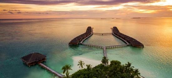 $ Based on 2 people per villa per night | Idyllic Maldives resort with dreamy water villas, Medhufushi Island Resort, Meemu Atoll