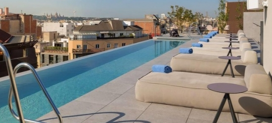 $ Based on 2 people per night | Sleek and central Barcelona digs with a rooftop terrace, Ohla Eixample, Spain