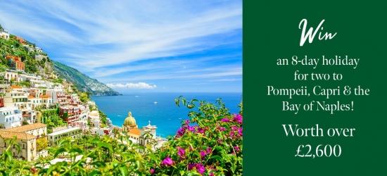 Win an 8-day holiday to Naples, Sorrento & the Amalfi Coast